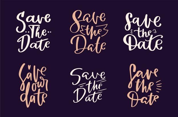 """exemplo de fontes para convite de casamento com as palavras """"save the date"""""""