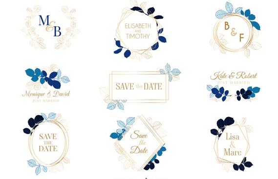 Letra de casamento em vários modelos e em formas diferentes