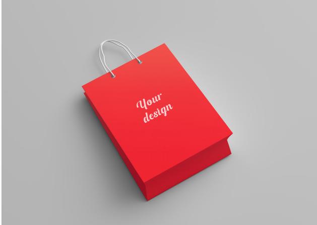 """sacola de papel personalizada vermelha com a frase """"your design"""""""
